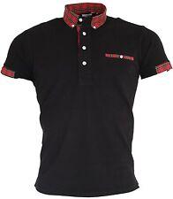 Men's Black & Tartan Checked Short Sleeved Button Collar Ska Mod Polo Shirt