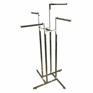New Chrome 4 Arm Sloping / Straight Clothes Garment Rack Rail! Adjustable Height
