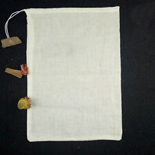Pack (50) 8x10inch Natural Cotton Muslin Drawstring Bags Reusable 20x25cm