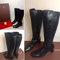 Womens Knee High Boots Size UK 4.5 Bally Black Leather Campbell Long Heels Zip