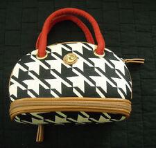 SPARTINA - BLACK & WHITE HOUNDSTOOTH w. TAN & RED, TRAVEL BAG & CARD HOLDER