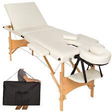 Mobile Massageliege Massagetisch Massagebank 3 Zonen klappbar beige B-Ware