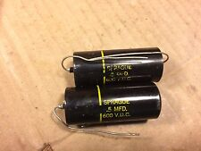 2 NOS Vintage Sprague Black Beauty .5 uf 600v Oil Capacitors Guitar Amp PIO Caps