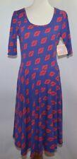 NWT LuLaRoe Nicole Dress Blue Red Santa Fe Geometric Womens L USA Made