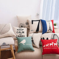 Vintage Cotton Linen Cushion Cover Waist Throw Pillow Case Cover Sofa Home Decor