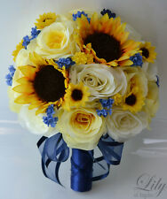 17 pieces Wedding Bridal Bouquet Round Sunflower Package Decoration YELLOW NAVY