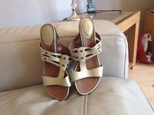 A Lovely Pair Of Clarks Gold Slip On Wedge Soft Leather Mules Size 6.5D