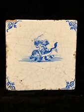 Rare 17th Century Antique Early Delft Tile Dutch Angel Riding Dolphin