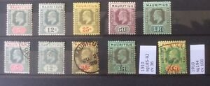 Mauritius 1910 Sg185-192. Edward VII Mint And Used. Also Sg194  Used.