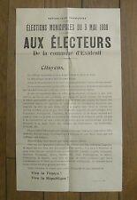 EXIDEUIL (Charente) affichette élections municipales 1908