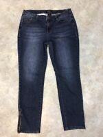 Earl Women's Dark Wash Stretch Denim Skinny Ankle Zip Jeans Sz 14
