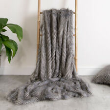 Luxury Faux Fur Throw - Extra Large 150cm x 200cm (GREY TEXTURE)