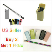 Collapsible Straw Reusable Stainless Steel Drinking Straws + Cleaning Brush