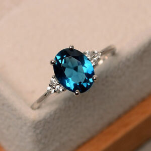 2.15 Ct Oval Cut Blue Topaz Diamond Engagement Ring 14K White Gold Size M N O P