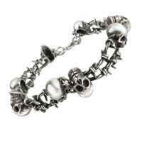 Alchemy of England Gothic No Mans Land Skulls Barbed Wire Punk Bracelet A103