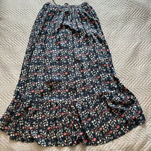 Nomads Skirt Size 12-14 Full Length Maxi Navy Blue Pink Floral Floaty Ditsy
