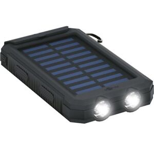8000mAh Outdoor Powerbank mit Solar und Taschenlampe Zusatzakku 2x USB Ladegerät