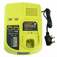 Battery Charger For RYOBI 12V/18V Ni-CD Ni-MH Li-ion Power Tool Dual USB Port UK