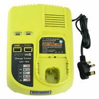 Battery Charger For RYOBI 12V/18V Ni-CD Ni-MH Li-ion Power Tool Dual USB Port UK