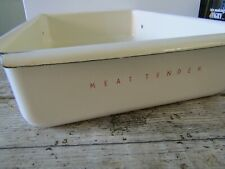 More details for vintage large cream red refrigerator drawer meat tender shabby kitchenalia
