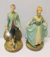 Florentine Art Chicago Victorian Man & Woman Bookends 1522 A & B Chalkware