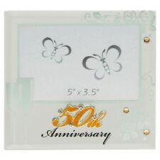 GOLDEN 50 Th Anniversario Di Matrimonio Cornice Foto Specchio Di Vetro Regalo Boxed