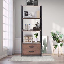 4-Tier Rustic Bookshelf BookCase with 2 Drawer Unit Storage Open Wood 4-Shelf