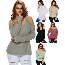 Cold shoulder knit long sleeves sweater womens clubwear brief cute sexy jumper