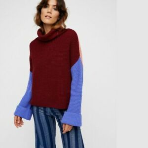 FREE PEOPLE Park City Jumper Pullover Sweater Colour Block Wine LARGE UK 16-18