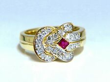 .46ct Natural Ruby Diamond Cluster Ring 14kt Sailor Knot Revisit