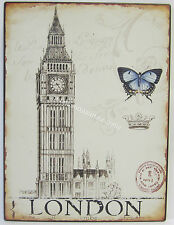 35 x 26cm Rustic Tin Wall Print London Big Ben & Crown Sign With Aged Appearance