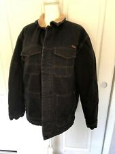 Oneill Winter Denim Shearling Lined Coat Jacket Black Mens Size Large L