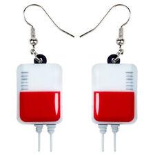 Acrylic Halloween Novelty Blood Plasma Bag Earrings Drop Jewelry For Women Charm