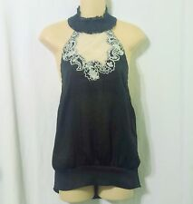 Arden B Black Net and Embroidered Halter Top Size XS