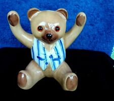 Ceramic Teddy Bear in Vest Figurine Glass eyes by Just Cats&co in Staffordshire