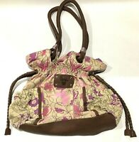 LINA Brown Purple Pink Floral Butterfly Canvas Purse Drawstring Great Condition