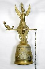 More details for antique style brass shop door/pub bell with hand pull