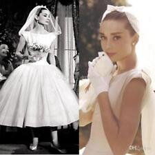 Vintage Audrey Hepburn Tea Length Wedding Dress Bridal Gown Custom Size 2-24+
