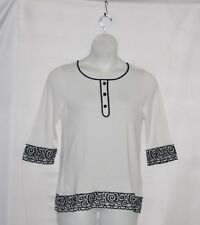Bob Mackie Embroidered Sheer Border Sweater Size S White