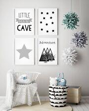 Set of 4 Little Man Cave Boys Room Kids Nursery Wall Art Prints Grey & White