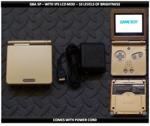 Nintendo Game Boy Advance GBA SP IPS MOD System 10 Level Brightness - Gold