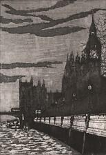 MIKE BERNSTEIN Signed Etching HOUSES OF PARLIAMENT BIG BEN LONDON 1990