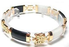 Genuine natural 18KGP Black White Jade Gemstone Fortune Lucky Link Bracelet
