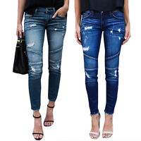 Women's Ripped Stretchy Stitching Stripes Skinny Denim Jeans Jegging Trousers