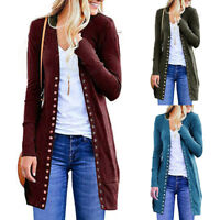 Womens Open Front Buttons Down Cardigan Sweater Long Sleeve Plus Loose Blouses