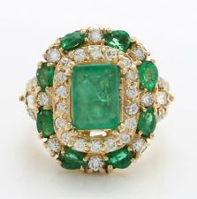 3.71 Carat Natural Emerald and Diamond in 14K Solid Yellow Gold Women's Ring