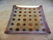 "Vintage Purple Luster Glama Glass Atomic Starburst 12"" Square Plate Platter"
