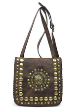 Patricia Nash Chocolate Brown Distressed Italian Medallion Granada Flap Purse W3