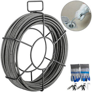 VEVOR Drain Cable Sewer Cable 50Ft 1/2In Drain Cleaning Cable Auger Snake Pipe
