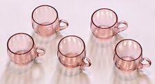 VINTAGE ANTIQUE Pink Depression Glass Set of 5 Cups